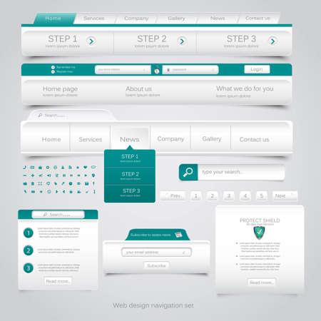 web navigation: Web design navigation set. Vector Illustration