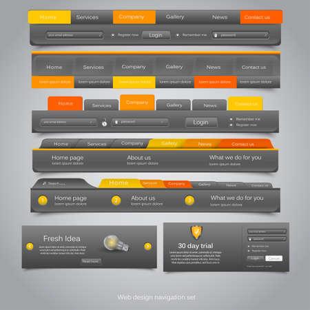 web site design template: Web design navigation set. Vector Illustration