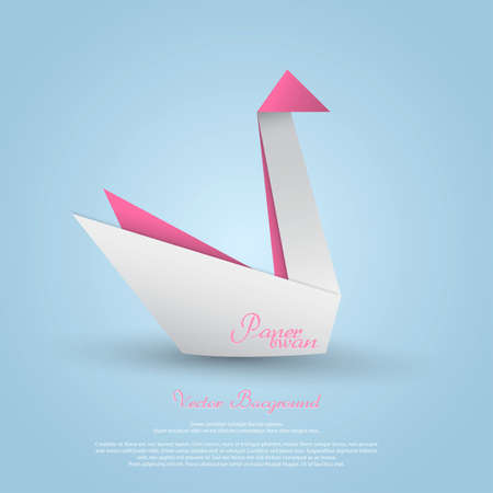 swans: Origami swan.Vector Illustration