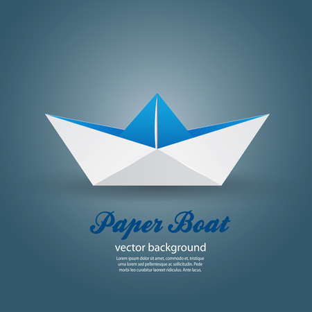 folded paper: Origami paper boat . Vector