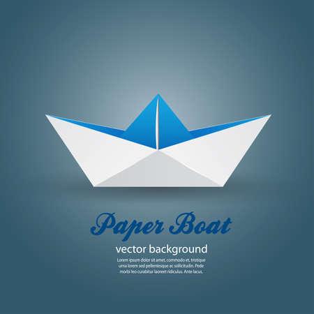 Origami di carta barca. Vector