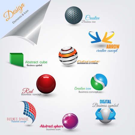 Conjunto de elementos de dise�o moderno.