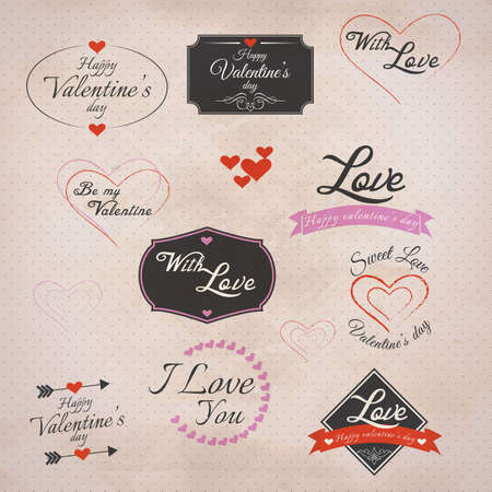 Collection of valentines Labels with retro vintage styled design.  Vector