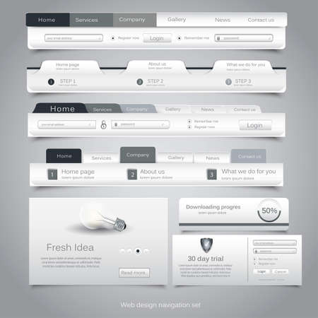 web pages: Web design navigation set.
