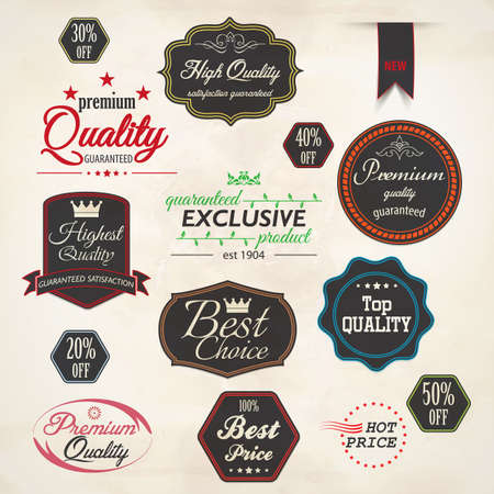 free trial: Set of retro stickers and labels