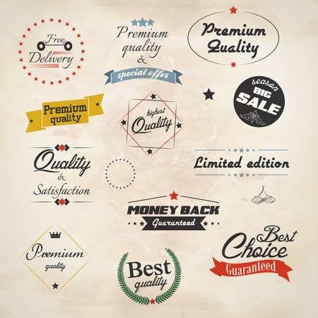 premium quality: Vintage labels and ribbon retro style set