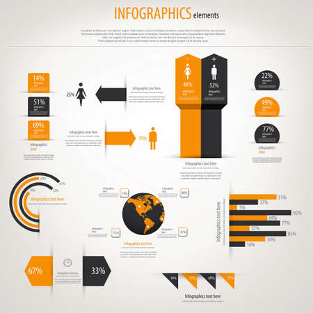 button: Retro infographics set. World Map and Information Graphics. Vector Illustration