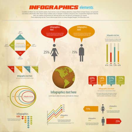 Infograf�a retro. Mapa del Mundo y los gr�ficos de la Informaci�n. Vector