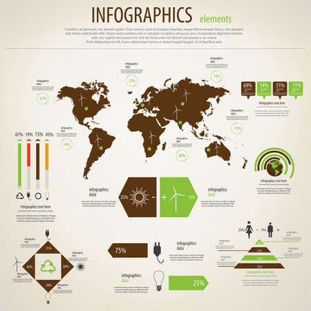 Ecology  infographics set. World Map and Information Graphics. Vector Vector