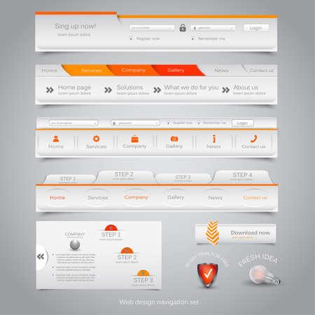 navigation: Web design navigation set. Vector Illustration