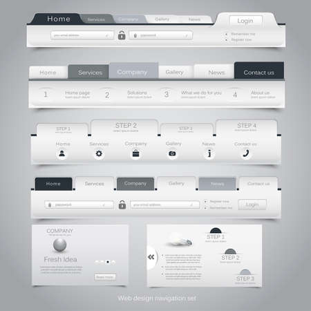 Web design navigation set. Vector Vector