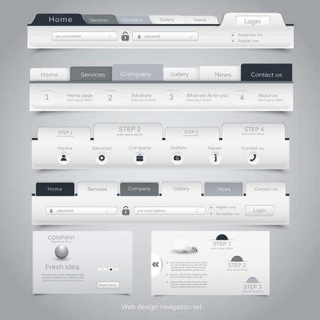 tabs: Web design navigation set. Vector Illustration