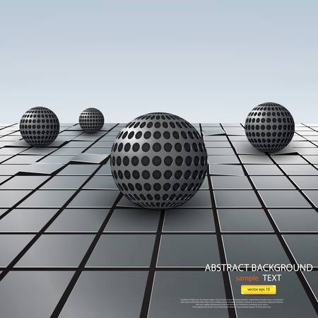 Abstract Background with metal sphere. Vector Vector