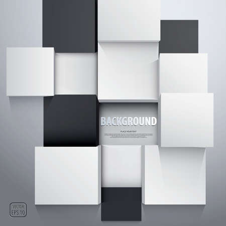 virtual technology: 3D cubes background - design template. Vector Illustration