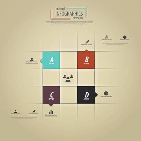 büyüme: Minimal Infographics tasarım. Vektör Çizim