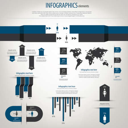 Infograf�a Retro establecido. Mapa del Mundo y gr�ficos de informaci�n.