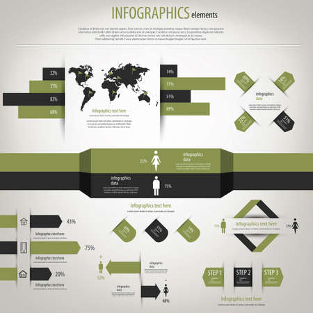 Infograf?a Retro establecido. Mapa del Mundo y gr?ficos de informaci?n. Vectores