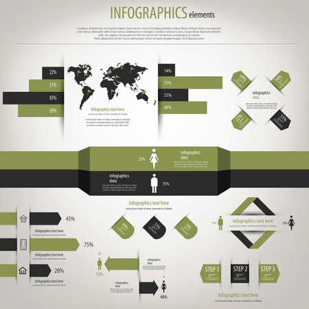 demographics: Retro infographics set. World Map and Information Graphics.