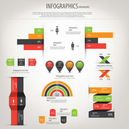 demographics: Retro infographics set. World Map and Information Graphics.