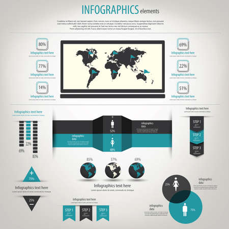 navigation bar: Retro infographics set. World Map and Information Graphics.