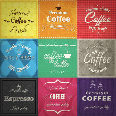 old mark: Set of retro coffe label cards.