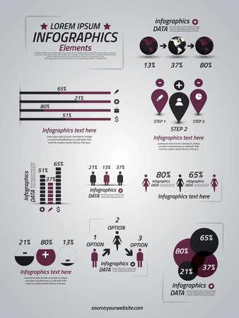 szigetelés: Állítsa be a infographic elemekkel. grafikonok, nyilak, diagram, 3D-s földgömb, ikonok és design elemek