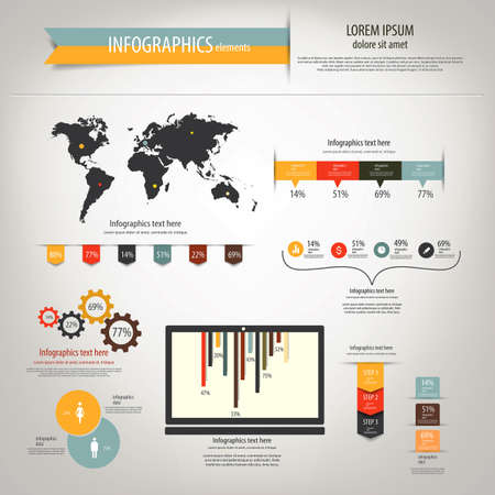 Retro infographics set. World Map and Information Graphics. Vector Stock Vector - 20271730