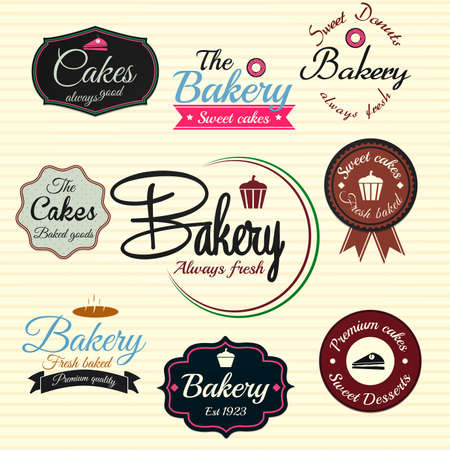 pastries: Retro Bakery Badges And Labels  Vector