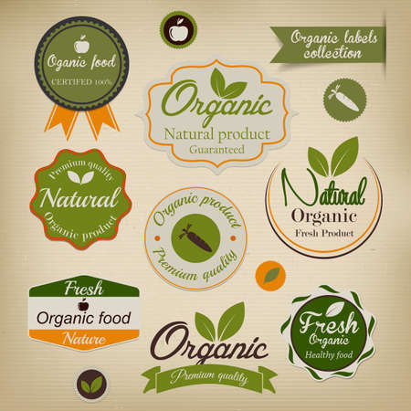 öko: Retro Stil Bio-Lebensmittel Etiketten Vektor Illustration