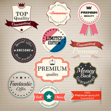 Set of stickers and ribbons  Vector Vector