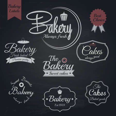 Set of retro bakery labels, Chalk typography design. Vector