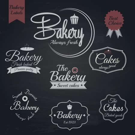 Set of retro bakery labels, Chalk typography design. Vector Illustration