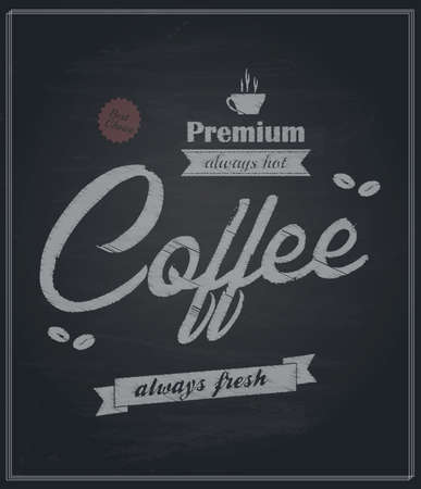 Chalkboard Retro-Vintage premium Coffee Background. Vector Vector