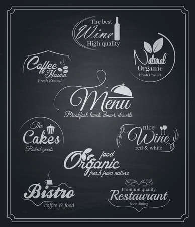 Chalkboard food and drinks labels. Vector Vector