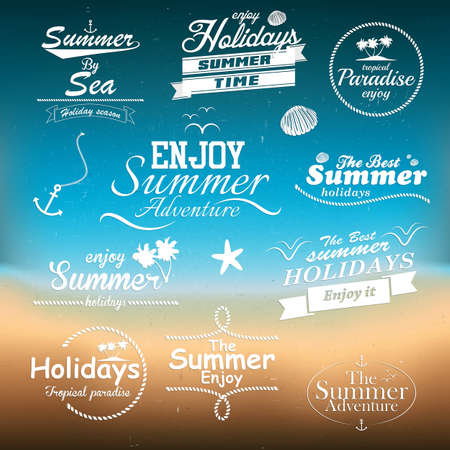 seahorse: Vintage summer typography design with labels Illustration