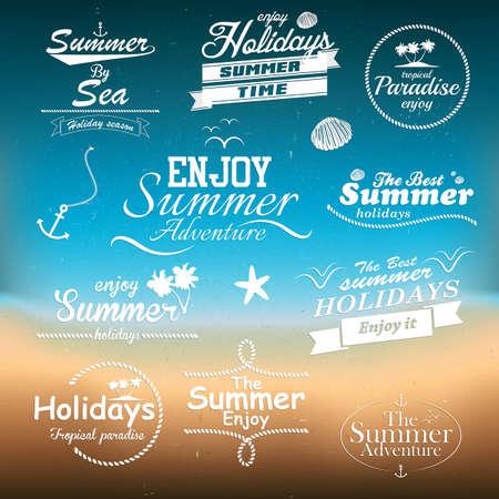 zomer: Vintage zomer typografie ontwerp met labels Stock Illustratie