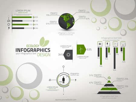 生態インフォ グラフィック デザイン。ベクトル。ワークフローのレイアウト、図、番号のオプション、web デザインに使用できます。  イラスト・ベクター素材