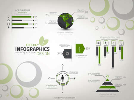 Ecology infographics design. Vector. can be used for workflow layout, diagram, number options, web design. 向量圖像