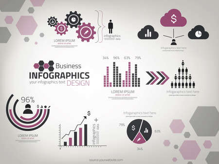 Infograf�a negocios de dise�o. Vectorial. se puede utilizar para el dise�o del flujo de trabajo, diagrama, opciones de n�mero, dise�o de p�ginas web. Vectores