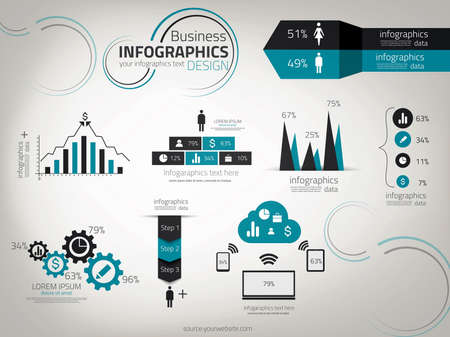 비즈니스 인포 그래픽 디자인. 벡터. 워크 플로우 레이아웃, 그림, 숫자 옵션, 웹 디자인에 사용할 수 있습니다.
