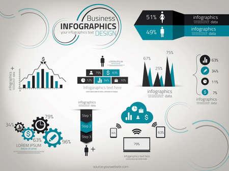 Infographie d'affaires de conception. Vector. peut être utilisé pour la mise workflow, diagramme, les options numériques, conception de sites Web. Banque d'images - 20726633