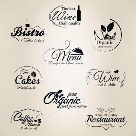 레스토랑 및 카페 라벨 일러스트
