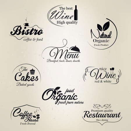 coffe tree: Restaurant and cafe labels  Illustration