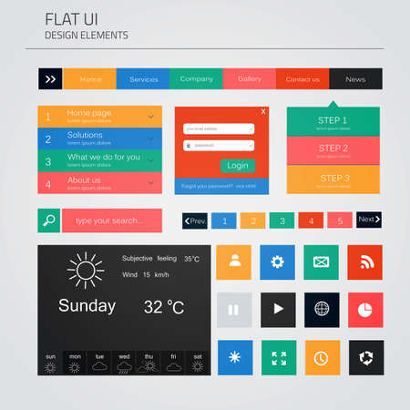 UI elements for web and mobile. Flat design. Vector Vector
