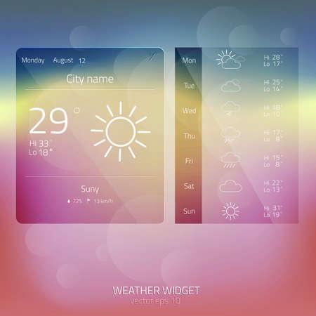 widget: Weather Widget, Button, Sign, Symbol, Emblem, Sticker, Logo for Web Design, User Interface, Mobile Phone.Vector Illustration