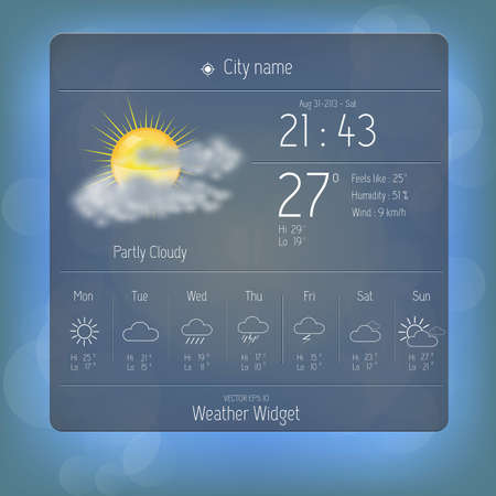 Weather widget template Vector