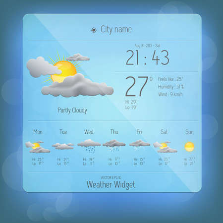 rainy days: Weather widget template. Vector