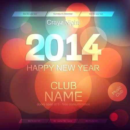 A�o Nuevo 2014 Flyer plantilla de vectores