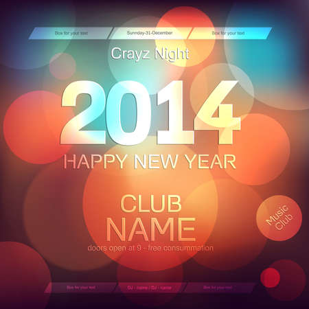 Ano Novo 2014 Flyer Template Vector