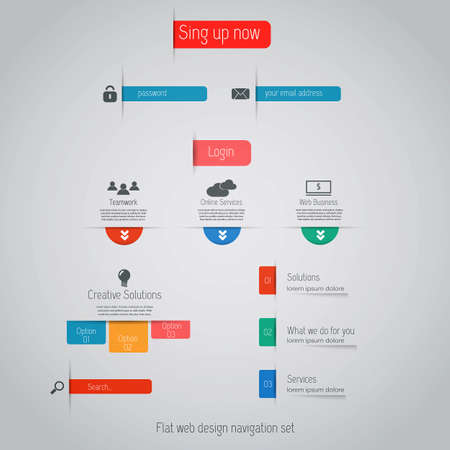 Elementos de UI para web y m�viles. Dise�o plano. Vector